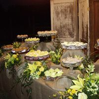 Cupcake Wedding Serving table for wedding that served 29 dozen gourmet cupcakes. Five flavors....each decorated to coordinate with the wedding decor/color...