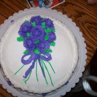"Birthday Cake With Purple Roses This is my ""grand finale"" cake from the Wilton I class."