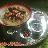 Machboos Deyay This is a cake for a traditional food in my place, rice with chicken, usually served with local pickles, made them using fondant, and...