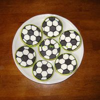 Soccer Ball Cookies  My first try at making cookies!, I made this for my son's soccer team and also the ones with his team name and logo, they were part of...