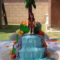 Hula Girl WASC cake with pineapple filling on first and 3rd tier and banana cake and fresh banana filling on 2nd cake and pineapple BC frosting. Doll...