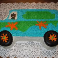 "Scooby-Doo & The Mystery Machine My first ever attempt at decorating a cake! My son wanted, ""The Mystery Machine with Scooby driving it"" for his 3rd birthday. I..."