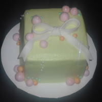 Donated Cake For Church   4 inch square. fondant bow, otherwise buttercream