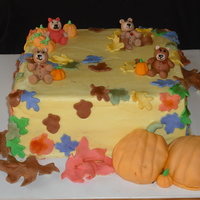 Baby Shower   12 inch chocolate bc except gumpaste teddy bears and fondant accents
