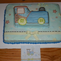 Baby Boy Shower  based on the napkin. 11x15 with half of the old wilton stand up train on top. train is covered in fondant(still fairly new to that) and...