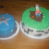 Cowboy And Smash Cake   iced in bc with fondant accents. gumpaste cowboy