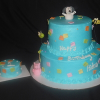 First Birthday Cake And Smashcake based off a napkin. all bc except accent pieces. gumpaste figues. 9 inch with 6 inch