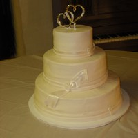Wedding Cake   pumpkin flavored wedding cake, based on design on pink cake box web site. all bc execept fondant bow/ribbon