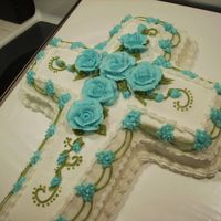 Cross Cake cross cake for homecoming at church. all done in bc icing.