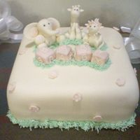 Jungle Animal Baby Shower Cake This was my 2nd attempt at using fondant. ( I would like to say first because i dont think the 1st time truely counted!, :) i was so happy...