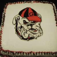 Ga Bulldog Ga bulldog cake. the bulldog was a fbct. i had only done one fbct before this one, and didnt care fot it. this time i used a butter icing...