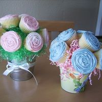 Cupcake Flower Bouquets these were the first two, and so far only two, cupcake boquets i made. they were very easy and fun to make. i loved the container for the...