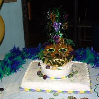 50Th Birthday Cake/mardi Gras Theme We had a 50th birthday party for my sister and made it Mardi Gras theme. What a great party. I had fun making this cake.