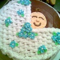 Baby Shower Basket buttercream frosting on chocolate frosting