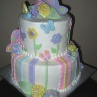 Butterflies And Bugs   This is a buttercream cake with fondant accents for a baby shower.