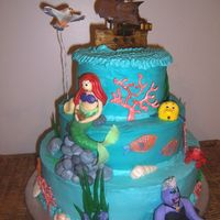 Under The Sea  I made this cake for my daughter's 5th birthday. It is buttercream with fondant and royal icing decorations, the shells are chocolate...