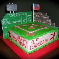 Fenway Park  This is a square cake with two walls made from fondant. The faces, flag, and lights are also fondant. On the sides of the cake I use a...