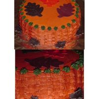 Fall Time Leaves Basket Weave all around sides. Leaves made from Gum Paste. Butter cream.