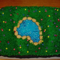 Field With A Pond Cake is a Yellow cake. Baked in two 9 inch pans. Grass made with Wilton tip. Rocks around pond are Maple Nut Goodies (candy). The pond was...