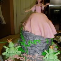 Princess Cake princess theme...Belle atop a castle wall w/fondant rocks & frogs (thanks for the how-to tuggy!!) & little mushrooms...the customer...