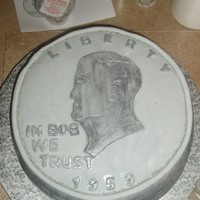 Silver Dollarcake Made for retirement party for a man who owned a coin shop.