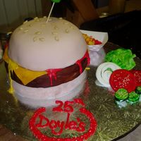 Burger Cake Cake for my dad's deli 25th Anniversary party tomorrow...It's a surprise for him. Hope he likes it! Fries, lettuce, pickles &amp...