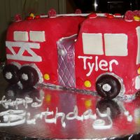 Firetruck Cake Firetruck for 3 yr old birthday-was tougher than I thought! I hope it's a hit at the firehouse birthday party it's headed for...