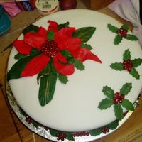 Pointsettia Cake For Bridal Shower  (Christmas Wedding)