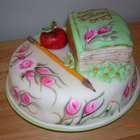 Happy Birthday Teacher Story Book Hand Painted Flowers, Story Book for Teacher, Fondant Pencil and apple