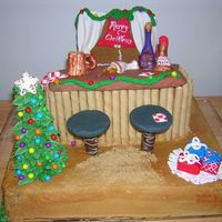 Christmas At The Bar Bar Scene Cake, All Edible, Whiskey Pound cake with Butterscotch Frosting