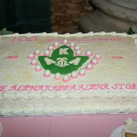 Alpha Kappa Alpha Cake I made this cake for my sorority's 100th year Exhibit. Yellow butter and chocolate full sheet. FBT and the pearls are MMF covered with...
