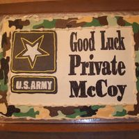 Going Away Cake Camo cake for my co-workers son who is going to boot camp. Army logo is off center but it was too late to turn back. They didn't seem...