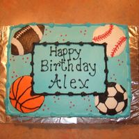 Football, Basketball, Soccer, And Baseball Sports cake for my boss' son's 7th birthday