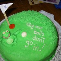 Leggy Golfing Frog I made this cake for a girl at work that I played golf with last year. She found out that the reason she couldn't eat cake (flour,...