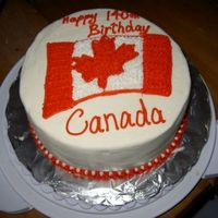 Canada Day Cake Vanilla cake with vanilla BC and strawberries in the middle.