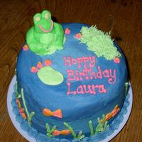 Hoppy Birthday I made this for my neice whose birthday is 2 days after my daughters. It was just for fun. Chocolate cake with BC including the frog.