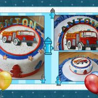 Firetruck Cake Marble cake, MMF and gum pastel figures...