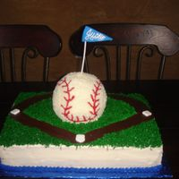 Baseball Birthday Cake   I made this for my nephews baseball themed party