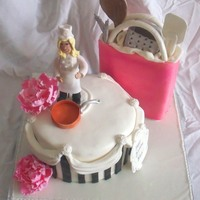 Chef Cookingtheme With Gumpaste Peony, Copper Pot, Chef Figurine, Kitchen Tools In Shopping Bag The black and white striped pseudo hatbox is a 9 inch two tiered cake. The shopping bag is fondant covered rice krispy treats. All...