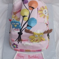 Moose And Zee Number 1 First Birthday Pink Girl Child Cake All decorations are edible. Moose and Zee formed on wooden shish kabob skewers. Balloons are all fondant. Base cake was single layer 10...