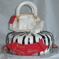 Purse, Shoe, Zebra Striped Fashionista Cake Cake base is 12 inch round two layer cake. Purse is super pearl dusted fondant covering rice krispy treats structure. Purse handles are...