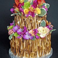 Bamboo Cake Hand Painted MMF bamboo and fresh flowers