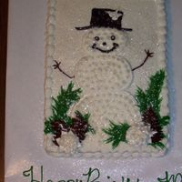 Snowman Birthday Cake Simple snowman for a co-workers son's birthday. This is a 1/4 sheet and I charged $20, customer was happy.