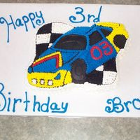Wilton Race Car This is done using the Wilton Race Car pan. I hate making black frosting so this time I got the Wilton stuff pre made in a tube. This...