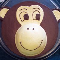 Monkey Monkey cake made from 12 inch round and half of sports ball pan, used a glass to cut around for the ears.