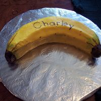 Banana Smash Cake This is the smash cake I made to go with the monkey cake for my grandson's first birthday. It is chocolate fudge with buttercream...