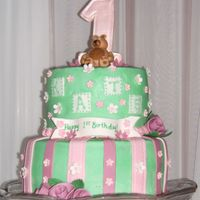 Kate's First Birthday Buttercream with fondant teddy bear, #1, and accents