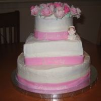 "Communion Cake Covered in melting buttercream!!! Ribbon is fondant with RI writing. Roses are gumpaste. ""Bubblegum buddy"" is made to look like..."