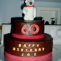 Brian From Family Guy Birthday Cake Stacked cake with Brian figure from the tv show Family Guy handmade from gumpaste.