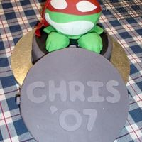 Raphael From Teenage Mutant Ninja Turtles Everything is edible except for the sewer lid which is a souvenir of the event- a college graduation. Sewer was round cakes, head was a...